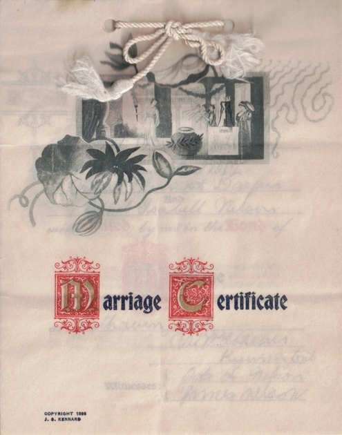 1912 Marriage Certificate for Noah Draper & Ethel Nelson